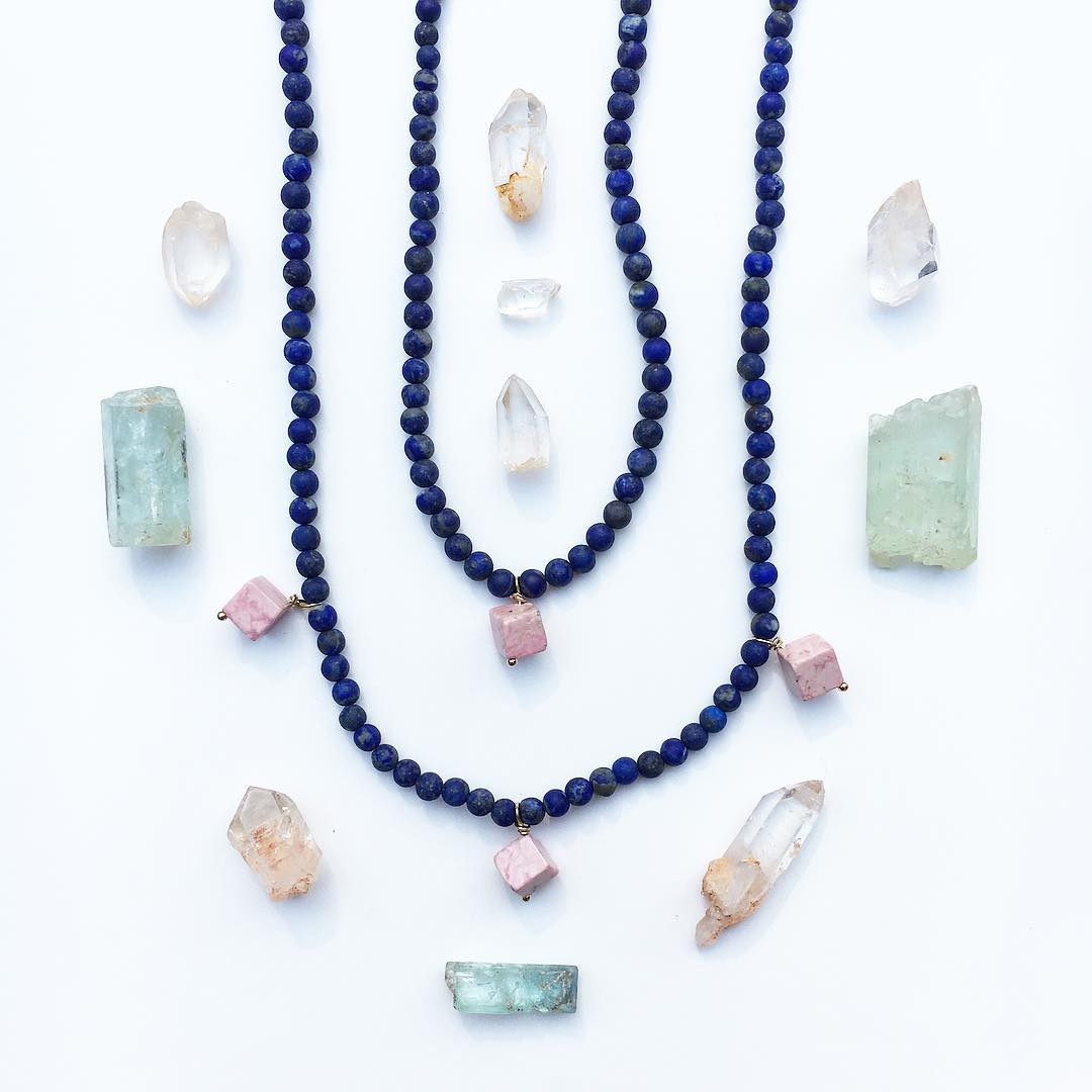 Lainie Necklace  Lapis with Pink Jasper cubes.  1 pendant $54 3 Pendants $58 Limited editions coming to the online shop and the city shops this week!  PLEASE LET ME KNOW VIA EMAIL IF YOU WOULD LIKE TO CLAIM ONE! info@JuliaSzendrei.com  Aquamarine, and...