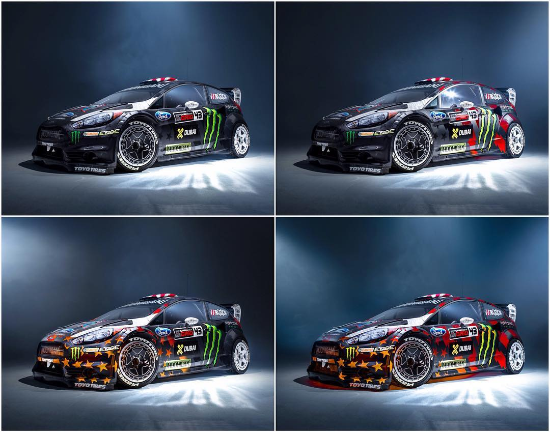Some light trickery with @kblock43's new Ford Fiesta RX43 livery. Haven't seen how it works? Click the link on our bio to watch the video! #GymkhanaEIGHT