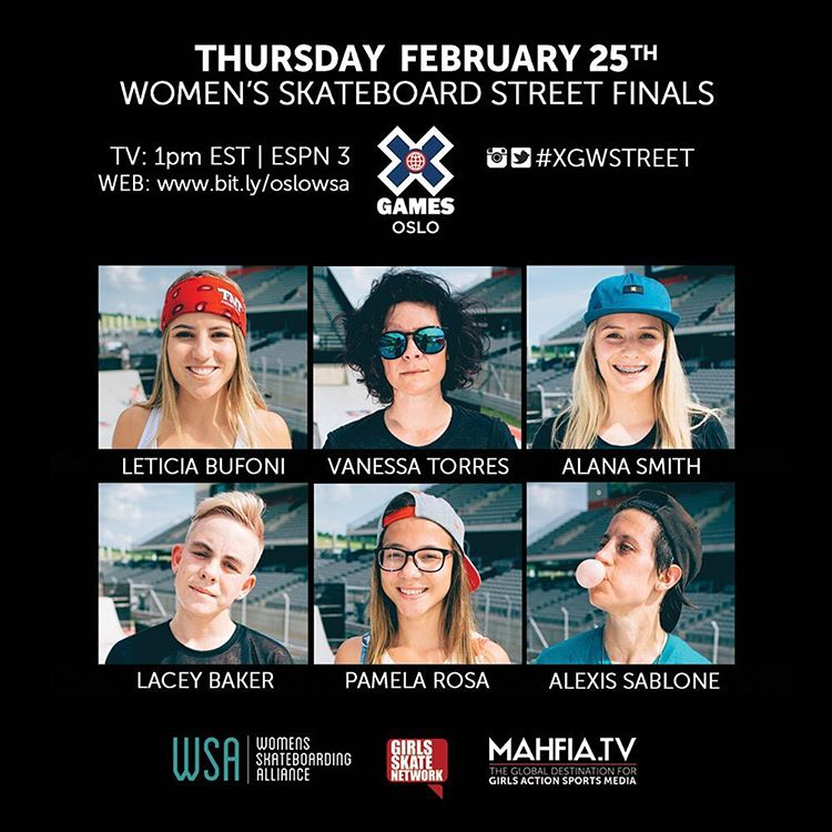 Watch the Women's Street Finals at @XGames Oslo on Thursday Feb. 25th at 1pm EST on ESPN 3! Web stream: www.bit.ly/oslowsa  #xgamesoslo #xgwstreet #killinitsoftly @thealliance_wsa