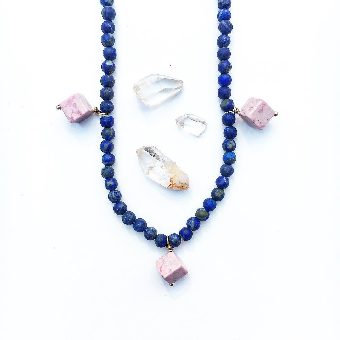 Lainie Necklace, with Lapis and Pink Jasper.  #gypsy #gypsystyle #gemstonejewelry #jasper #pink #juliaszendrei #lapis