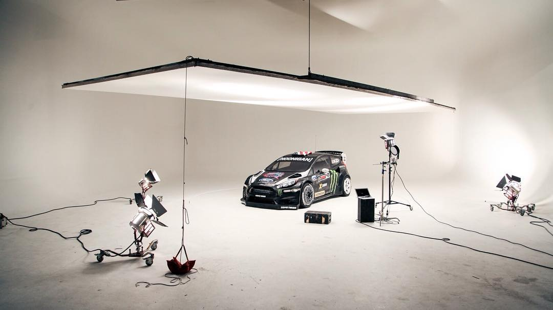 A peek behind-the-scenes of @kblock43's Ford Fiesta RX43 before getting hit with some reflective goodness. #GymkhanaEIGHT