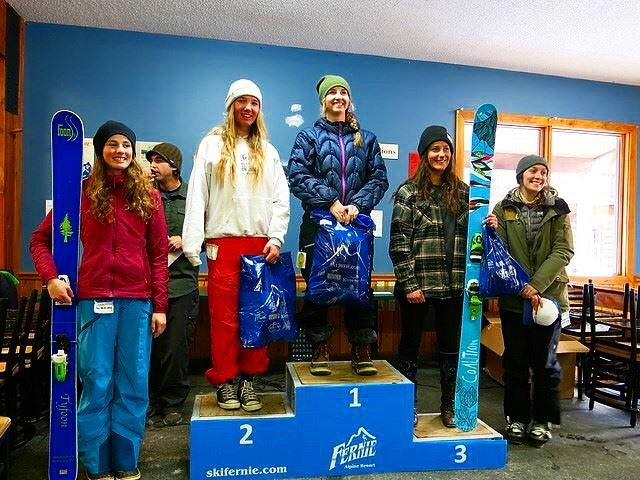 The #coalition squad hits the podium again! We're happy to send big #congratulations to @jaspervanspoore for rocking the @ifsafreeriders Fernie National! Great job lady!  #sisterhoodofshred #skiing #podium #competition #proud