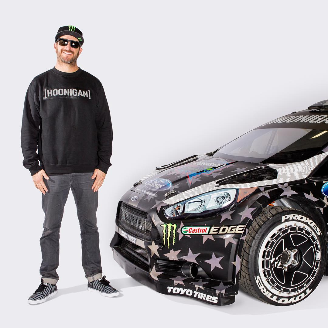 One of the things in this photo is reflective, AND available now at #HooniganDOTcom. Hint: it's not the car. #GymkhanaEIGHT #ultrareflectiveawesomeness