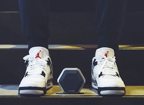 Jays and a Speaker.  Boombot Pro available at Boombotix.com  #Boombotix #airjordans #essential #wdywt #sneakerhead #retro4s