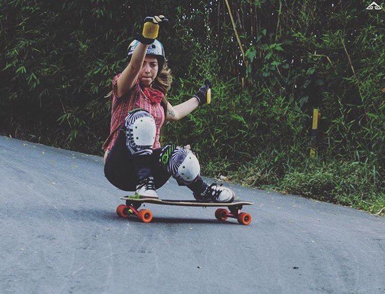 LGC Colombian Ambassador @chelagiraldo rocking a very steep corner. Esa Chelita!! @santiago_cano_jaramillo photo.  #longboardgirlscrew #womensupportingwomen #skatelikeagirl #lgccolombia #chelagiraldo #lgc #colombia