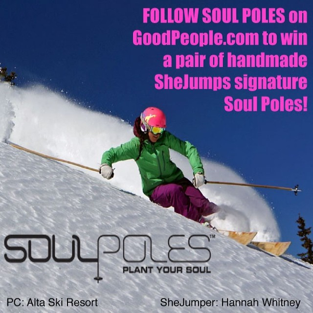 Here at GoodPeople we love chics that RIP (check out @hbdub shredding @altaskiarea)! That's why we're stoked to see our friends @shejumps & @soulpoles collab on some awesome poles!  This week, Follow Soul Poles on GoodPeople.com/soulpoles and you could...