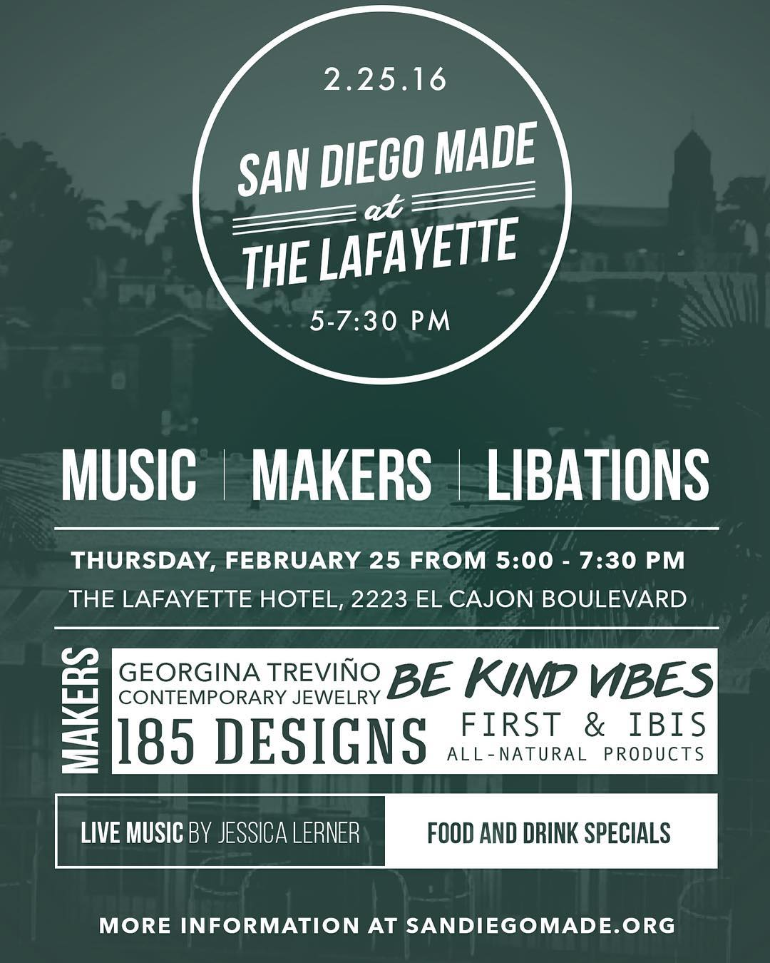 ~ Tribe Gathering ~  Tomorrow night from 4-8pm we'll be hanging out @thelafayette . Our food friends @sandiegomadeinsta will be hosting the first of many pop up shops at this iconic San Diego hotel.  Swing by and have a drink with us, listen to some...