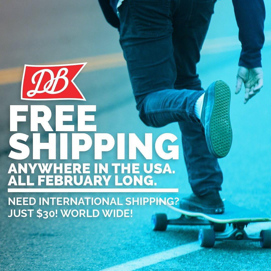 Our Free Shipping in the United States and $30 International shipping promos end on Monday! Snag a new board and save at DBlongboards.com! #dblongboards #longboard #longboarding #goskate