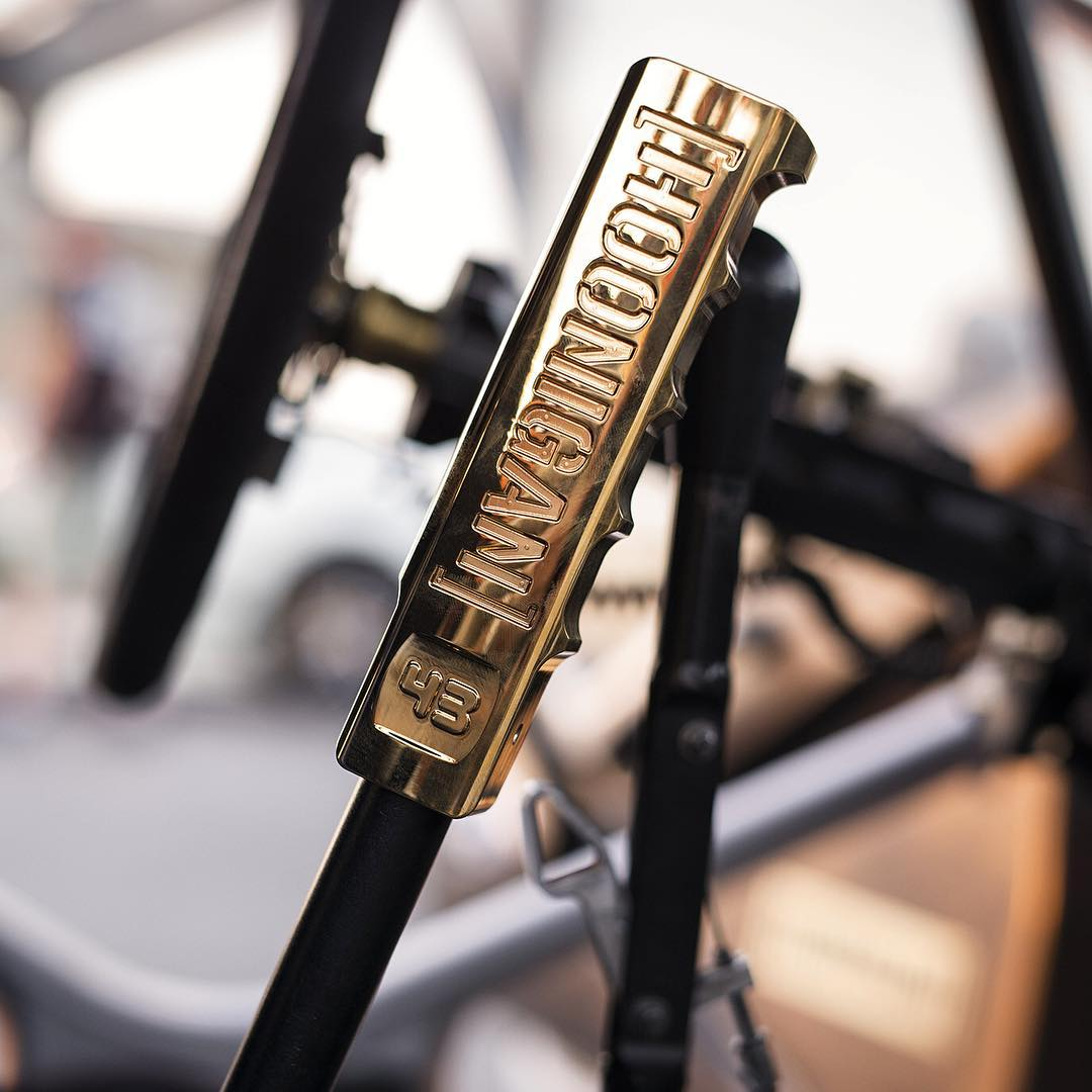 New Gymkhana = new handbrake sleeve. This being Dubai, you KNOW we had to gold plate it. Ha. #GymkhanaEIGHT #hoonstick