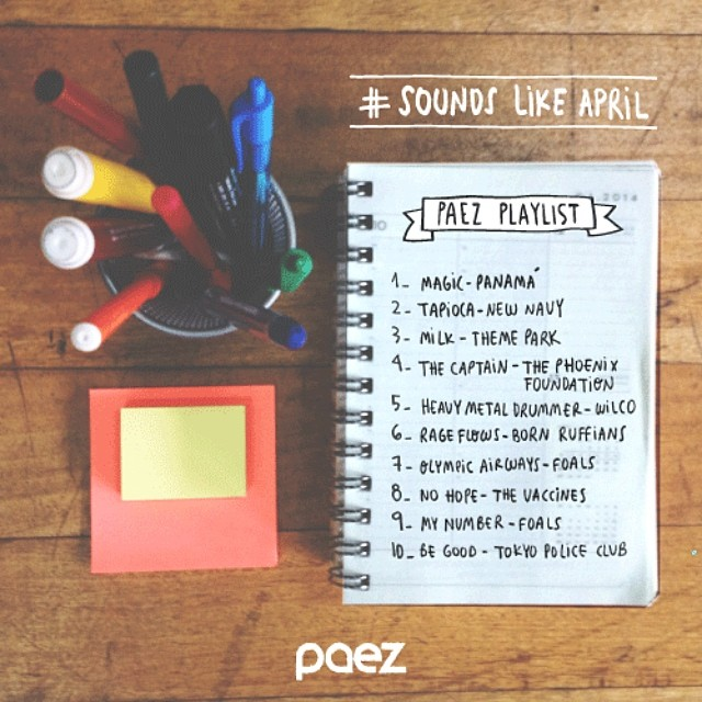 ♫ Tune up your Tuesday with #PaezMusic ♫  #SoundsLikeApril Playlist ☞ http://goo.gl/mhyjpP