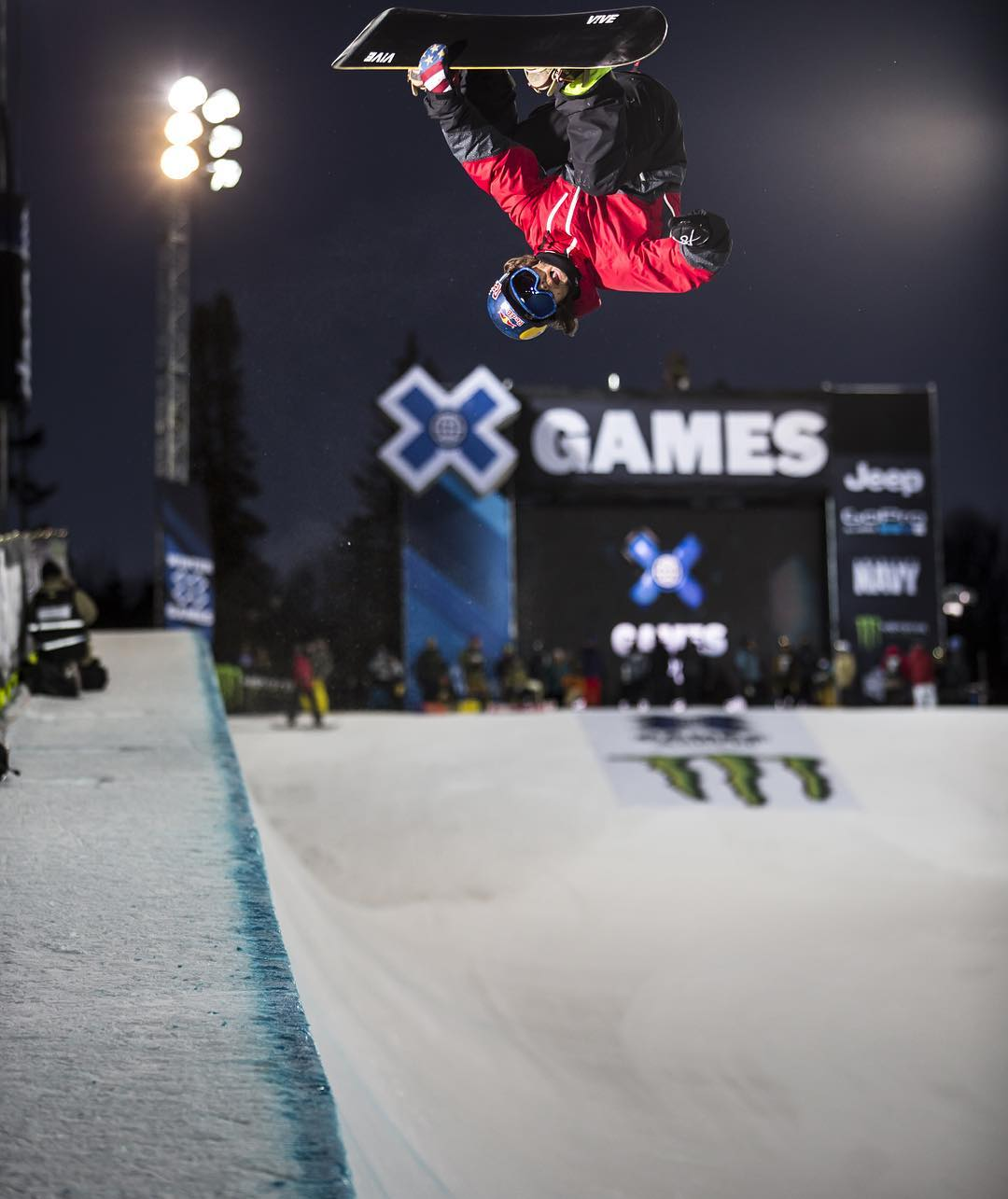Three-time medalist and @ToyotaUSA athlete @LouieVito will compete in Snowboard SuperPipe today! #TeamToyota (