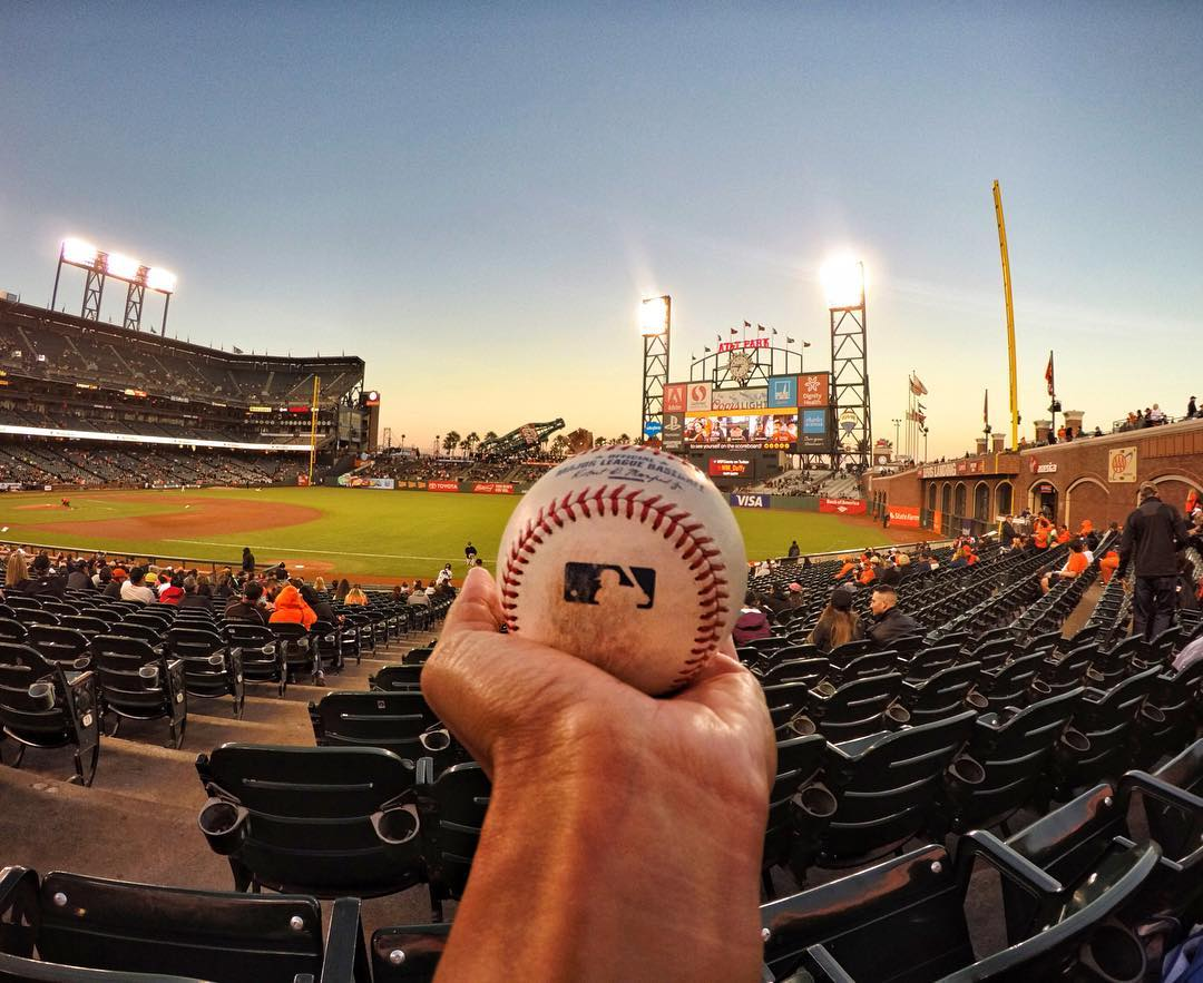 Throwing it back to warm #summer nights at the ballpark + @fepaterlini first baseball game! Love cold ones + hot dogs? Share with us via #GoProAwards link in our bio. #GoPro #GoProBR #⚾️