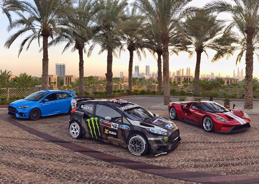 #TBT to seeing this setup outside of my hotel in Dubai. My Ford Fiesta #RX43 was definitely in good company for #GymkhanaEIGHT! Ha. I may or may not have done donuts around the front driveway here… #tiremarkevidence #FocusRS #FordGT #FordFiesta #Dubai