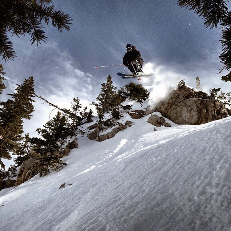 Spending the day the way he would. Skiing  with your friends. #crjday @jhandly sending one at the home base @altaskiarea | Photo: @austinramaley