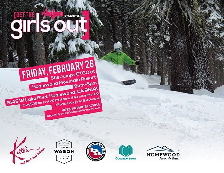 Come hang out at @skihomewood tomorrow with @shejumps and us! Demos, deals, ladies...good stuff! $20 lift tickets, get em while they're hot! #sisterhoodofshred #getthegirlsout #shejumps #demos #california #northtahoe #tahoe