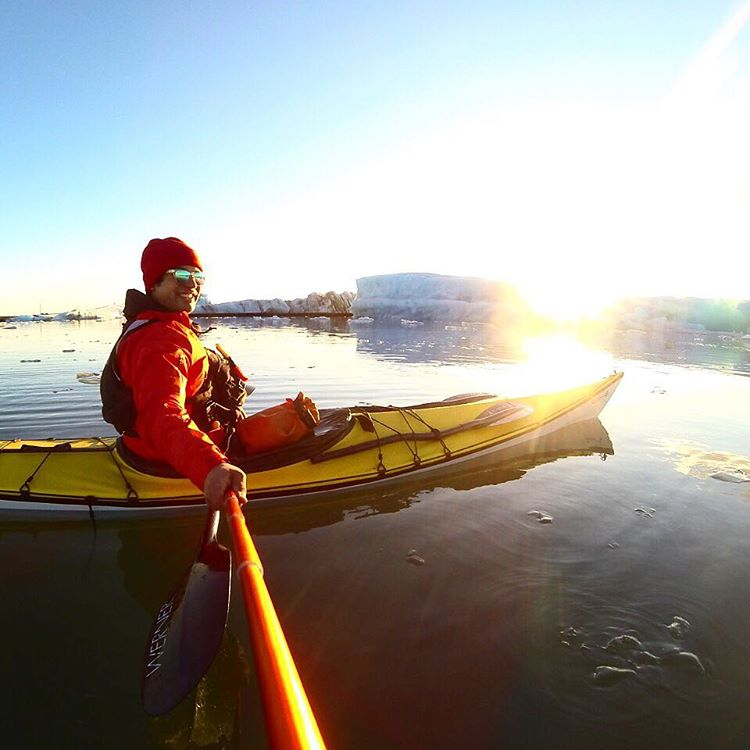 Be present. Life is fleeting. While all smiles, a moment before the tide had grabbed me and started sending me towards a giant glacier.. When I realized this I quickly paddled to this spot and took in the moment's adrenaline.  #TheIcelandProject