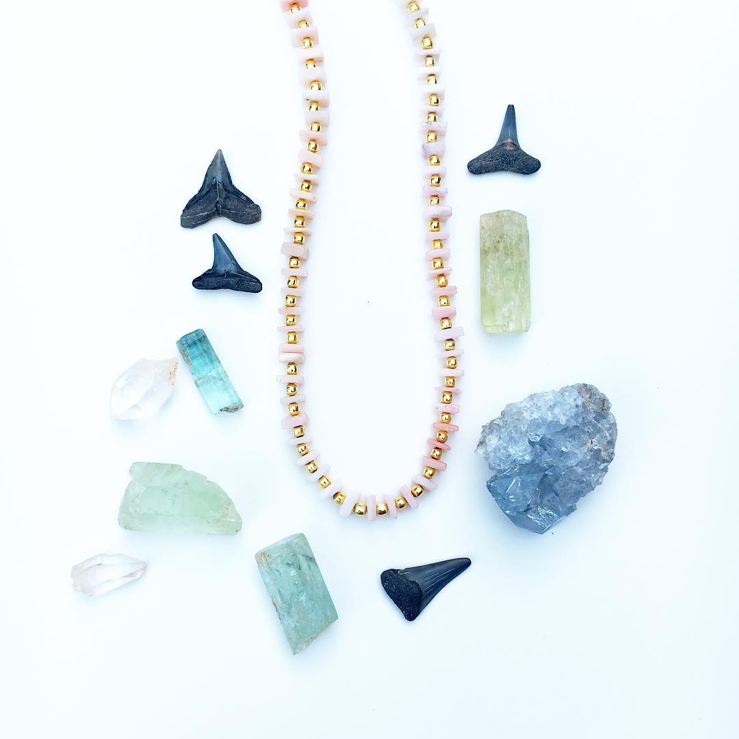 Pink Opal Ceremony Necklace, alongside shark teeth my husband found at age 10, raw aquamarine crystals and some Quartz found by the divine Melinda :) All Ceremony Necklace are #ONSALE in the shop this Spring! $54 for all new styles! They are just THE...