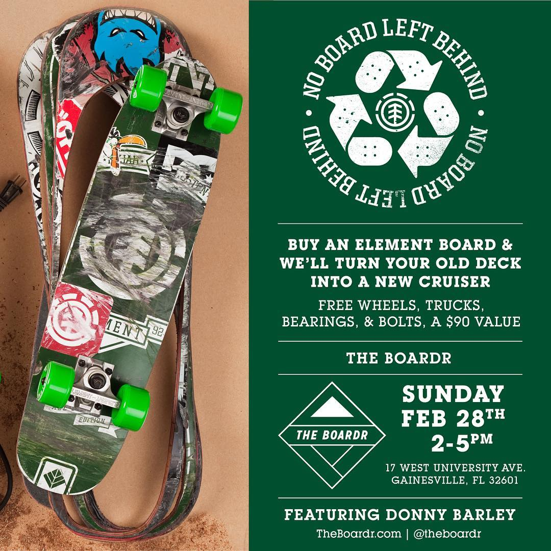 ♻️ @donnybarley will be out at @theboardr this Sunday for #noboardleftbehind in Gainesville, FL ♻️ >>> he'll also be holding the #elementbarreljump tomorrow in Spring Hill, Fl with @westsideskateshop, come join in on the good times in Florida