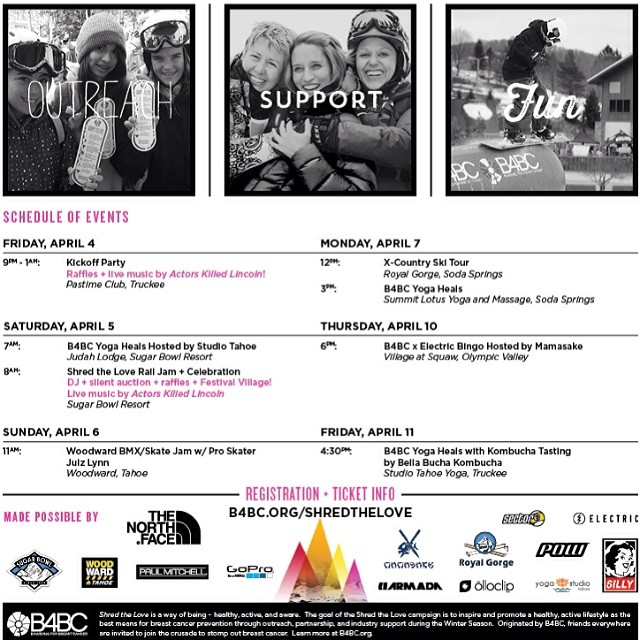 SHRED THE LOVE // @SugarBowlResort We are almost at the end of the B4BC's #SHREDTHELOVE winter series, with a final week long blowout stop in #LakeTahoe! Check out the poster to see the schedule of events from April 4th-11th, with a kick-off party at...