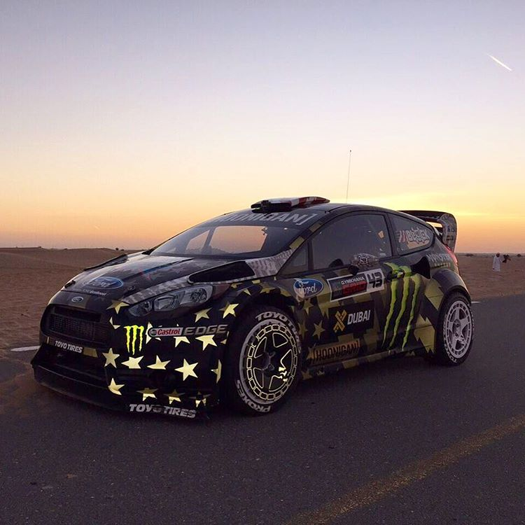 I love the way this new reflective #GymkhanaEIGHT livery looks - even when it's 5am in the semi-cold Dubai desert in November. Ha. Video drops Monday. #ultrareflectivelivery #FordFiesta #Dubai