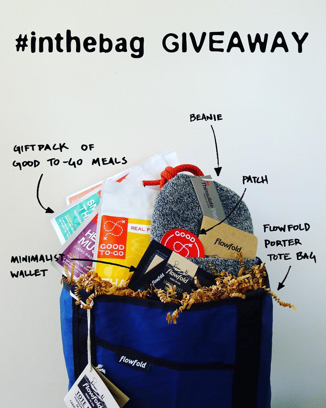 @flowfold and @goodtogofoods Giveaway!  Enter to win the #inthebag giveaway featuring Good To-Go gourmet dehydrated meals, a #Flowfold Porter tote and more! Giveaway launched Feb 24th and entries are accepted through Feb 28th  To enter:  1. tag one...