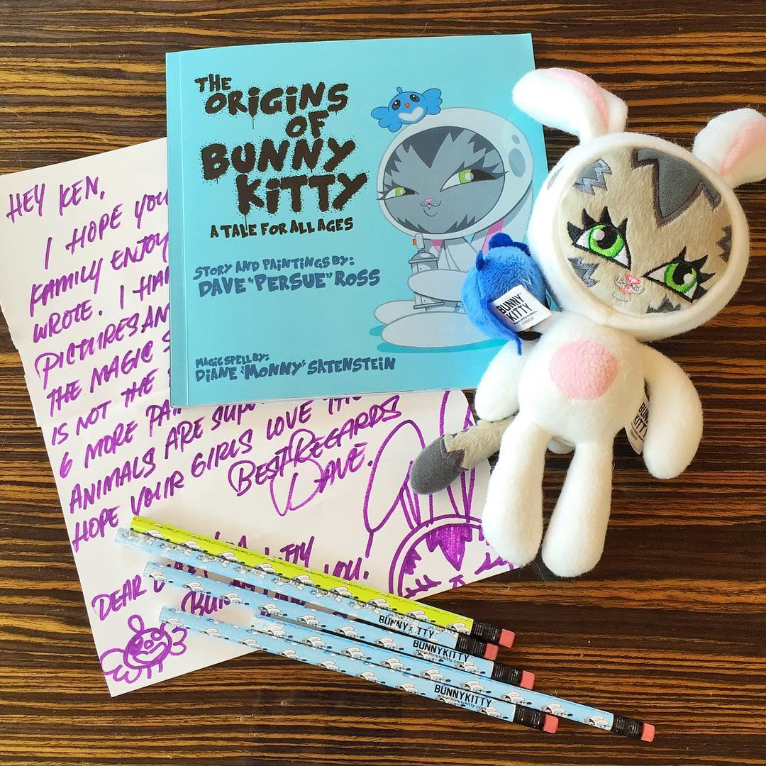 Long time friend and graffiti artist Dave @Persue1 Ross sent me this amazing set of stuff for my kids. He's done a book, stuffed animals, and other products (like these pencils) for kids with his character @_BunnyKitty_. Awesome stuff. The book isn't...