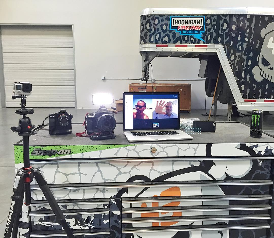 My view this morning whilst doing the first of many interviews regarding #GymkhanaEIGHT. This particular view was of a quick Skype interview with @USATodaySports, with a few additional camera angles in all different formats. Lots more to do today…...