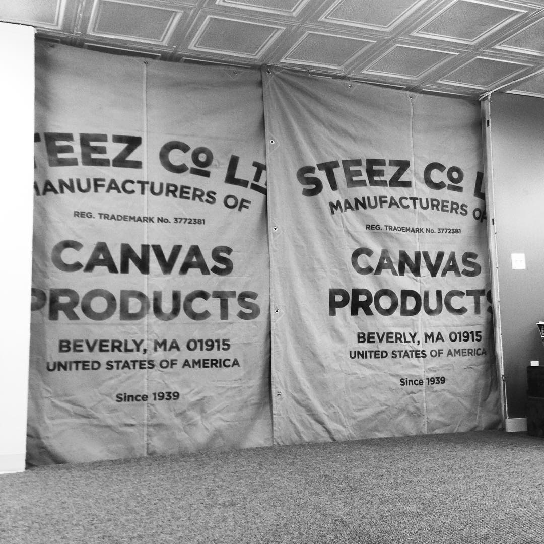 New year, new digs. Back in the Bev where we belong. Super stoked. #steez #steezcoltd #canvasproducts #canvastarps #steezmagazine #beverly #beverlyma #office