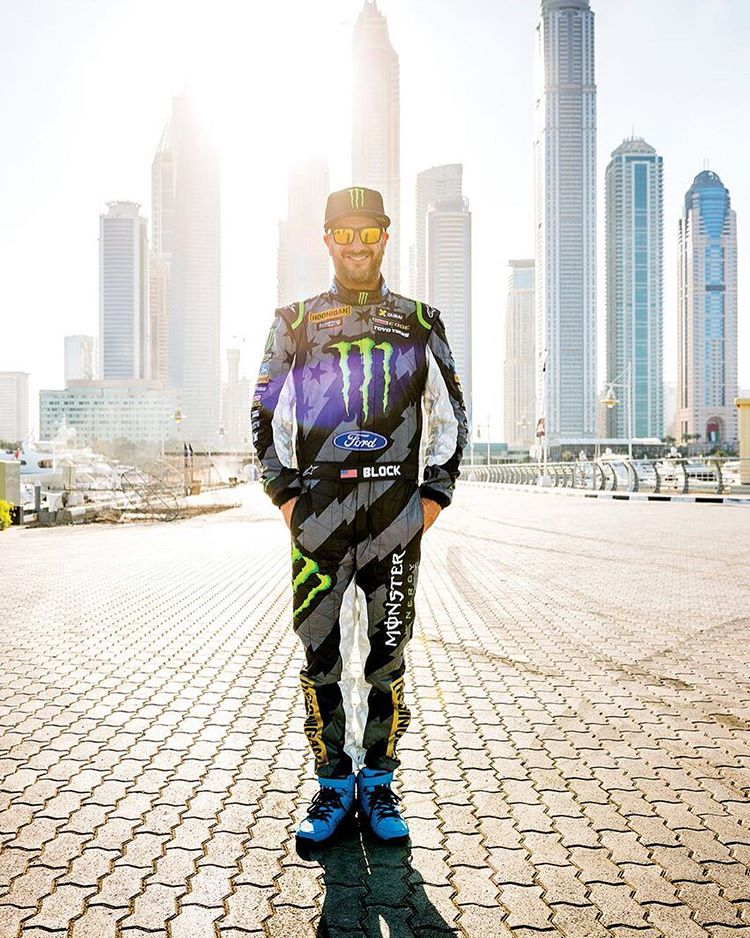 @Alpinestars killed it on this new race suit that was made just for #GymkhanaEIGHT. I really like this shot with the Dubai skyline in the background, shot by @Blabacphoto. #fireresistantfreshness #mykindofsuit #Dubai