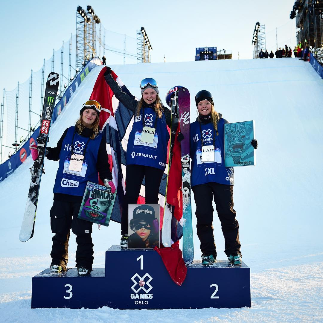 @tiril taking home the gold in Women's Ski Big Air to kick off Saturday at #XGamesOslo! (