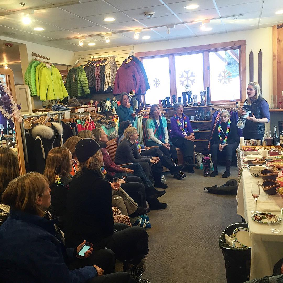 (4/6) Great gear talk held at @bootdoctors regarding women specific gear. Sam Tischendorf gave an awesome informational talk on women's ski boots showing us lighter, sturdier, women specific boots that will help us shed at the resort and in the...