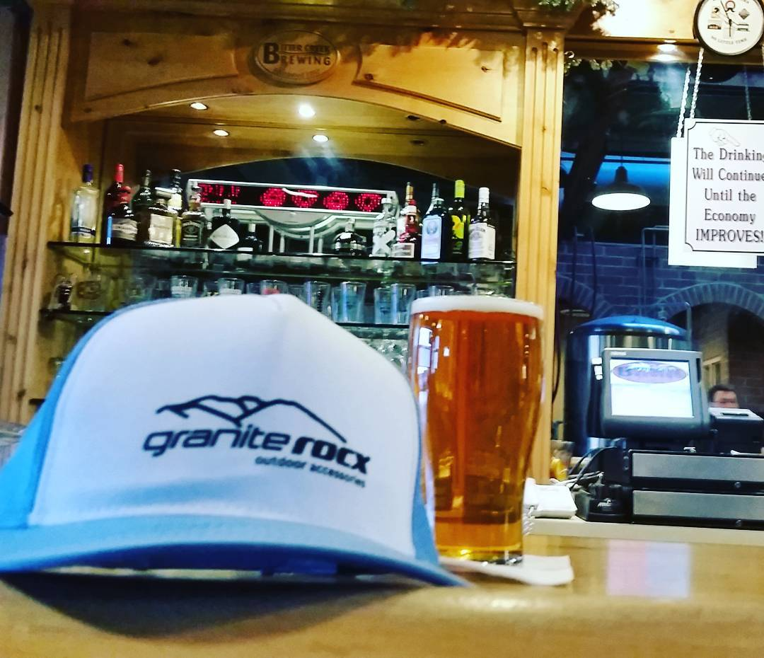 After a day of driving,  we're topping it off with some food and a few #brews at  #bittercreekbrewery.  No better way to end the day. #longday #breweries #truckerhats #graniterocx