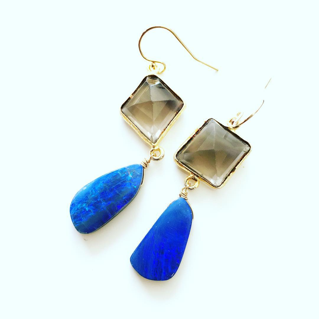 Blue Australian Boulder Opals paired with Smokey Quartz Earrings.  One-of-kind works this Spring! Email: info@juliaszendrei.com for more information  #ss16 #opals #juliaszendrei #somethingblue #gemstonejewelry #gemstones #gemstonejewelry #chandelier...
