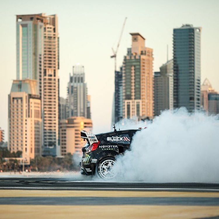 Fun fact: I destroy @ToyoTires on two separate airplane runways in Gymkhana EIGHT. Just ONE DAY left 'til #GymkhanaEIGHT launches! #runwayreverseentry #blindedbysmoke #Dubai