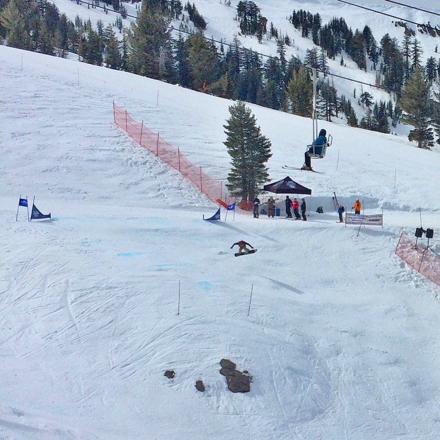 Having blast watching the @daronrahlves tour @kirkwoodmtn ! The snow is so great! #epiclife #epicteam this is an unknown snowboarder way out in front crushing the competition.