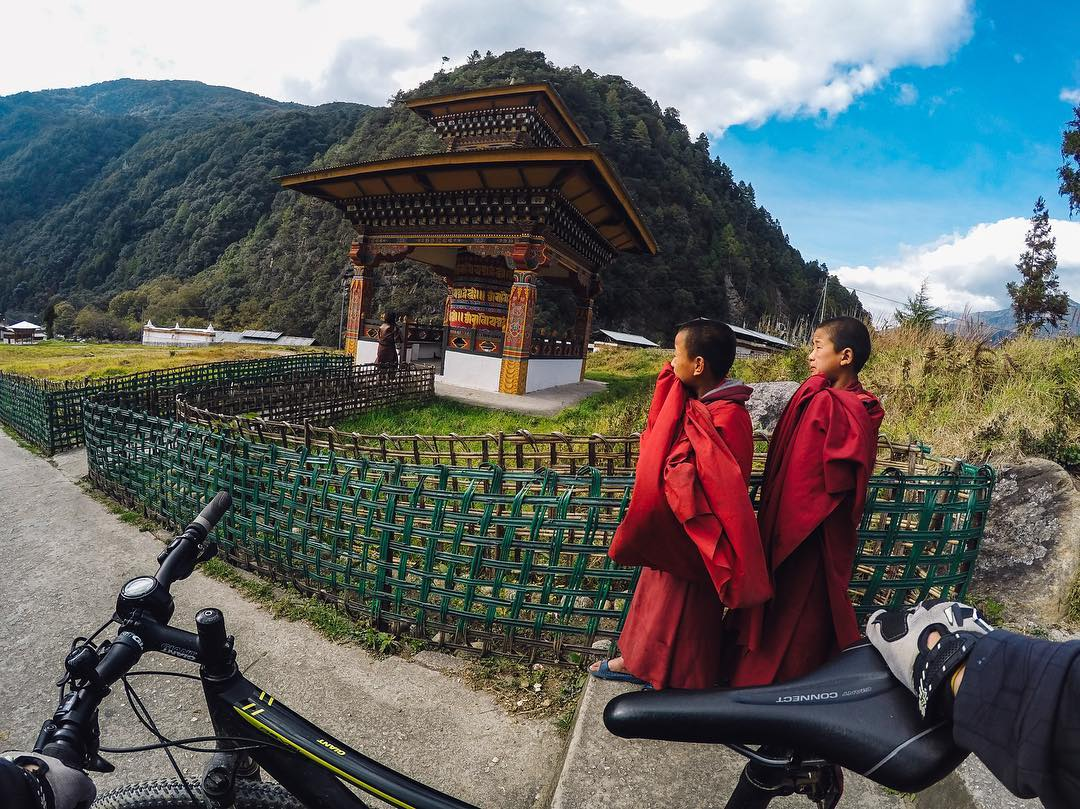 Photo of the Day! #GoProAwards recipient @dylanhaskin came across a #Buddhist monastery (and a couple #monks) while traveling in #Bhutan. Truly a beautiful scene. #GoPro