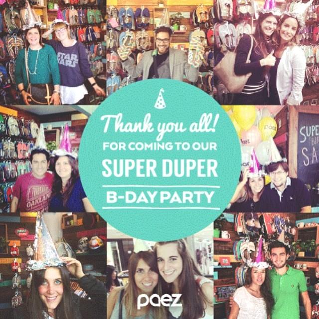 #WeCelebrate #PaezBday Muchas gracias a todos los que festejaron junto a nosotros nuestro 8vo Cumpleaños PAEZ!!! *<( :-) #paezpartyhat  #Paezshoes #Paezstores #partyhat #Paez