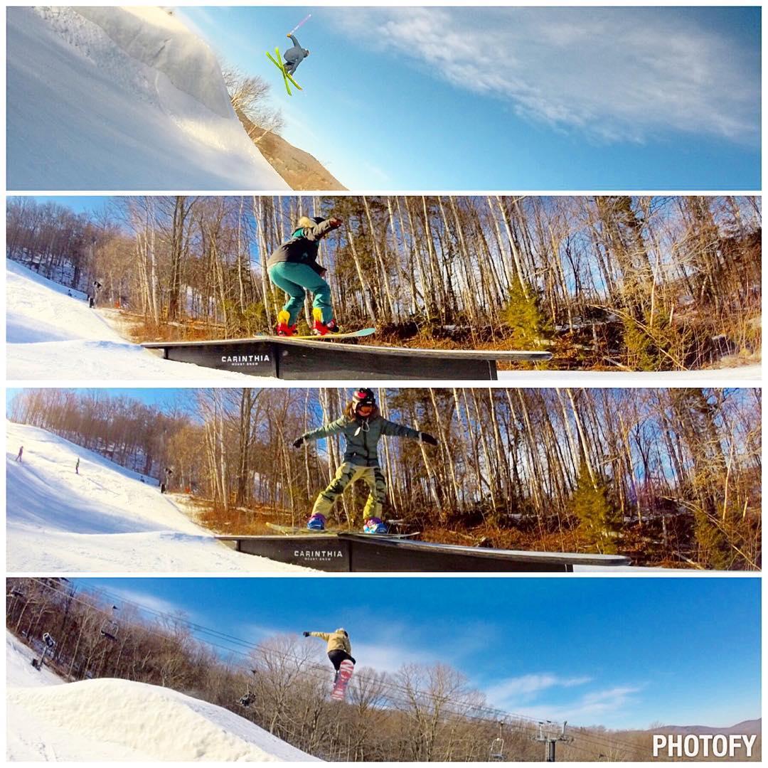Great day! #sendingit with the #fulsend #crew #WhoaBrah #skiing #snowboarding #carinthia #justsendit #mountsnow @shar.203 @yasminejab @mountsnow @carinthiaparks @ericjunge