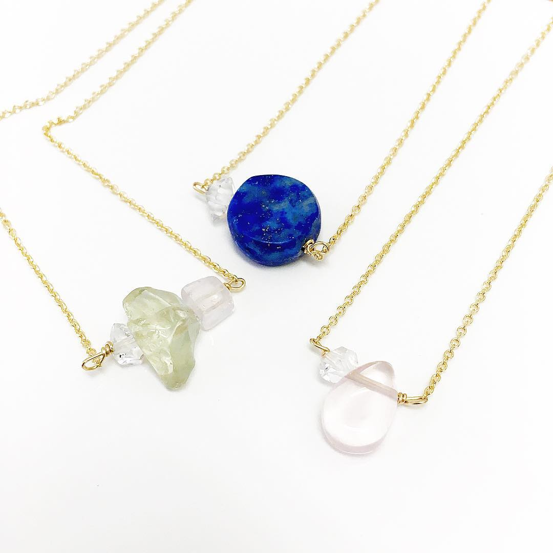 New adventures in the studio for Summer 2016.  Green Amethyst, Rose and Lapis, all paired with a Herkimer Diamond. Short and sweet and full of color.  #staytuned #lapis #etsyfinds #rose #green #colortherapy #highfashion #gemstonejewelry #juliaszendrei...