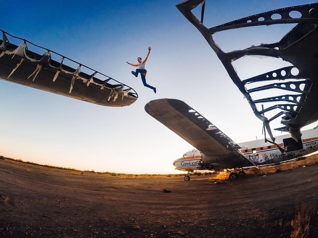 Happy #LeapDay! We only get Feb. 29th once every four years so enjoy it! @brannyeakes takes a #leap across abandoned planes in #Arizona. Make the most of your extra day and share with us via link in our bio. #LeapYear #GoPro