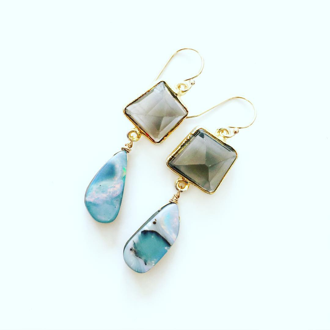 Opal/Quartz variations. Grab and go these babies are going fast!  #boulderopal #opal #jewelry #juliaszendrei #earringd #gemstonejewelry #gemstones #jewels #monday #summertrends #summerstyle #capestyle #capecod