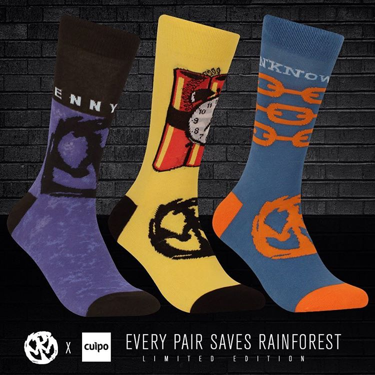 Three new @_Pennywise X #Cuipo band socks just hit the site! Snag your pair before they sell out. #Pennywise #BandSocks #SaveRainforest #UnknownRoad #AboutTime #BandMerch