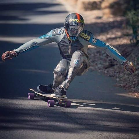 Big dog from down under @benbrosk8s surfing the turns of Mt Kiera.  Ben is rocking the 83a Purple Kegels to keep that grip from slipping and flipping.  #Orangatang #Purple #Kegels #83a #LoadedBoards #Cantellated #Tesseract
