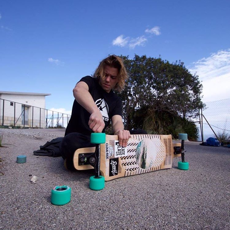 "@toni_conte setting up the new Contra 35.5"" (Photo by Alejandro Castellón) #dblongboards #longboard #dbcontra #downhillskateboarding"