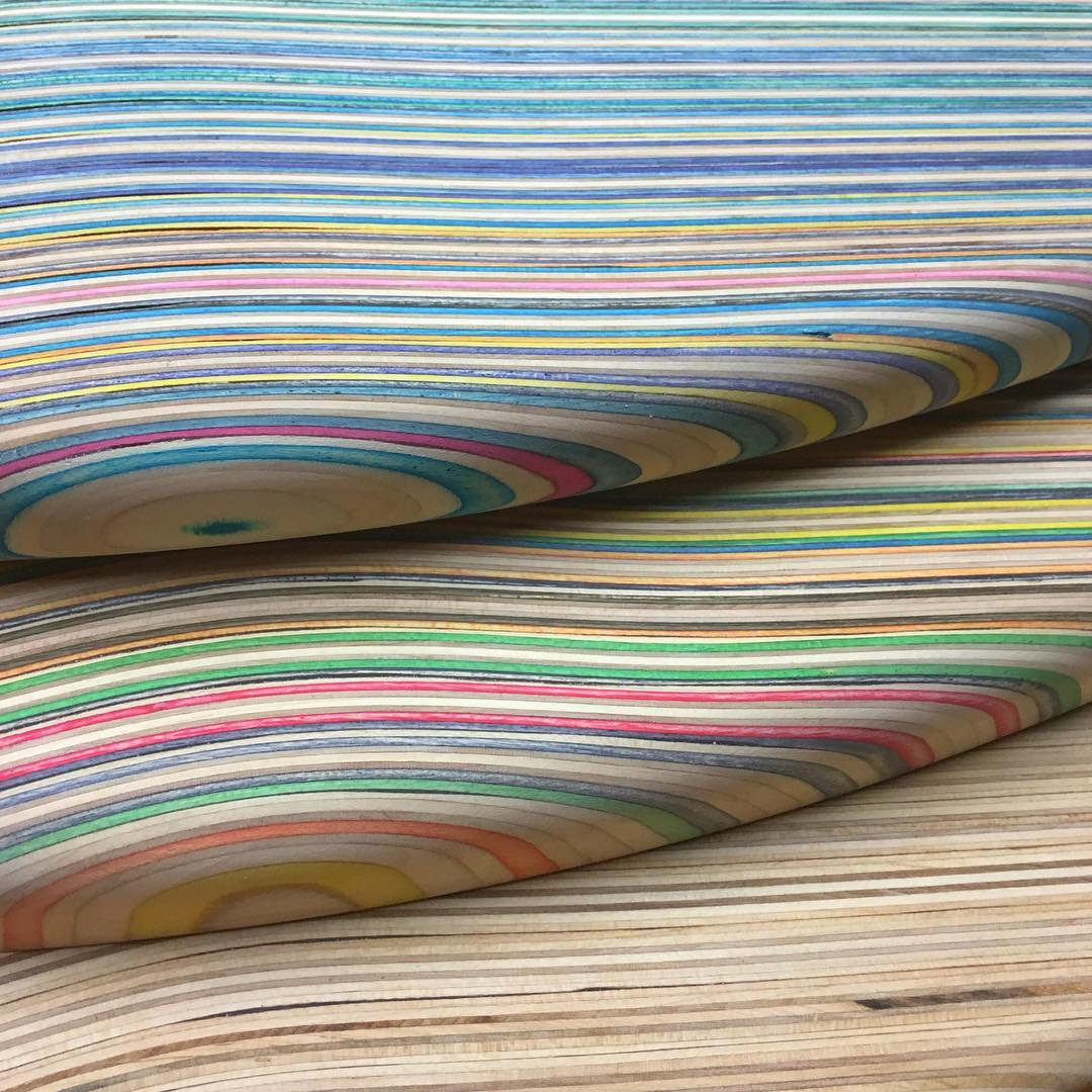 Here's a corner detail of the countertops being made for @otheravenues health food store. I'm looking forward to installing these beauties soon! #recycledskateboards #irisskateboards
