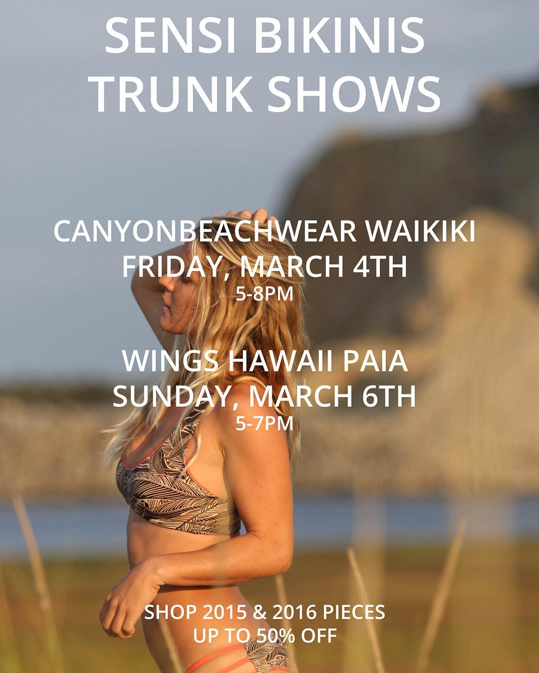 Hawaii babes! We're a-coming for ya. Come out and meet yours truly and ambassador @saltkissed this Friday in Oahu at @canyonbeachwearwaikiki and Sunday in Maui at @wingshawaii