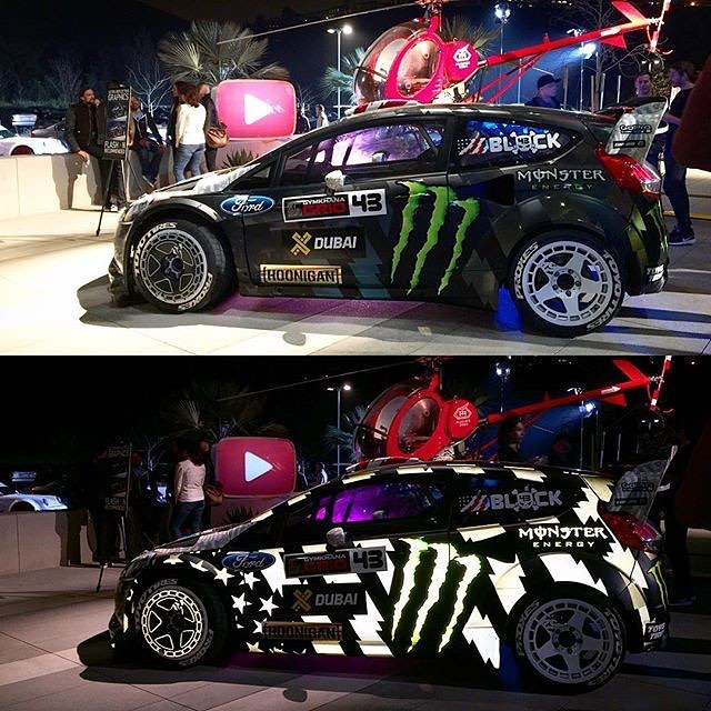 Stoked to see the #GymkhanaEIGHT Ford Fiesta RX43 getting all the flash hits at the GYM8 video premiere last night at YouTube Spaces in LA. This is one of my absolute favorite liveries. What's your favorite of my Gymkhana liveries? #reflectoriffic...