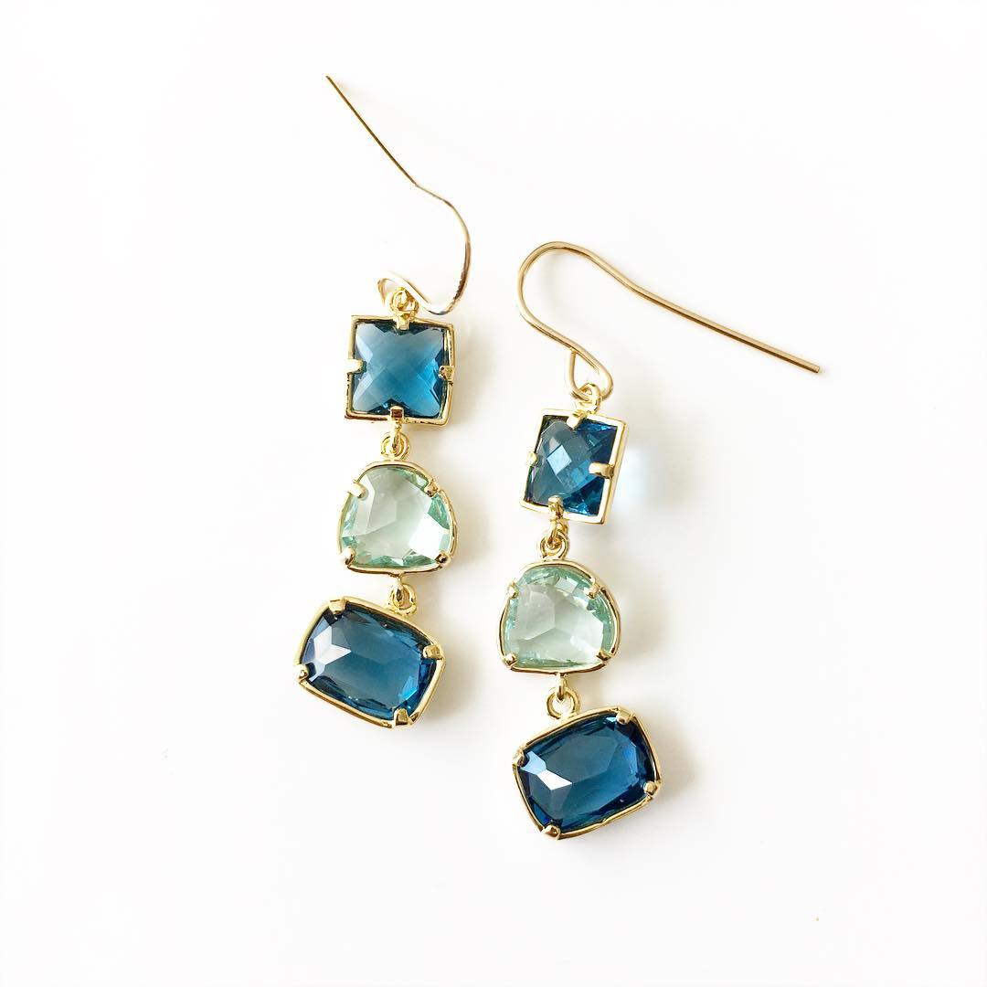 Crystal Drop Earrings in Blue tones.  Summer is very exciting!