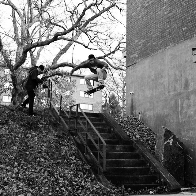 These guys kill it and have a lot of years ahead of em. @evanmansolillo #doubleset from #issue30 #steezmagazine shot by @hans_stuting #skateboarding