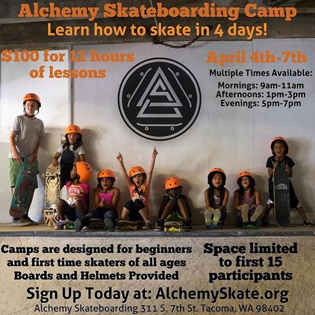 If you live in the Tacoma/Seattle area and want to learn to skate look no further than the @alchemy_skateboarding camps! #skateboard #alchemyskate #learntoskate #tacoma #seattle #skateeverything